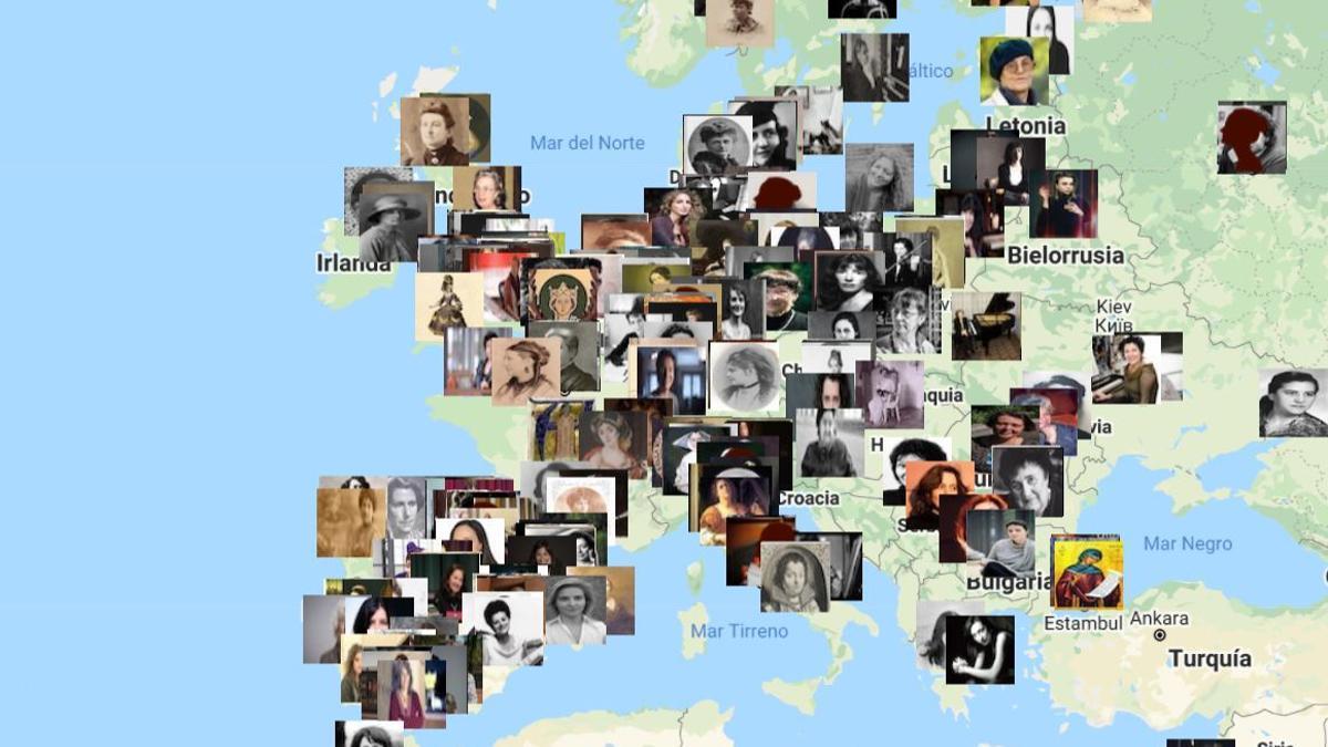 Fragmento del mapa Creadoras de la Historia de la Música, de Sakira Ventura, en svmusicology.com