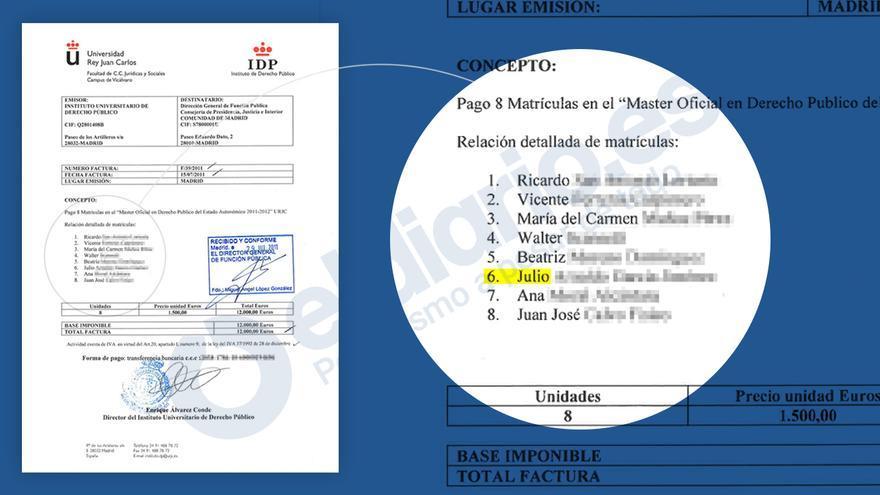 Extracto de la factura emitida por el IDP a la Comunidad de Madrid