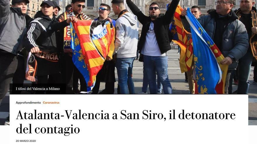 Reportaje en 'La Repubblicca' sobre el caso de infección masiva en el partido de Champions.