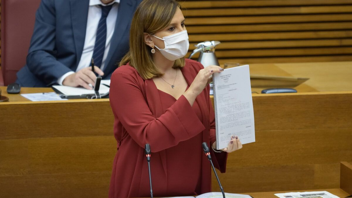 Maria José Catalá, portaveu del PP en les Corts Valencianes, durant el debat de política general.