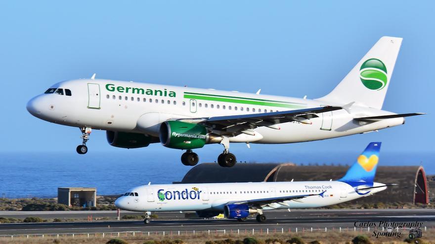 Espectacular imagen de una avión de Germani y otro de Cóndor. Foto: CARLOS PHOTOGRAPHY SPOTTING