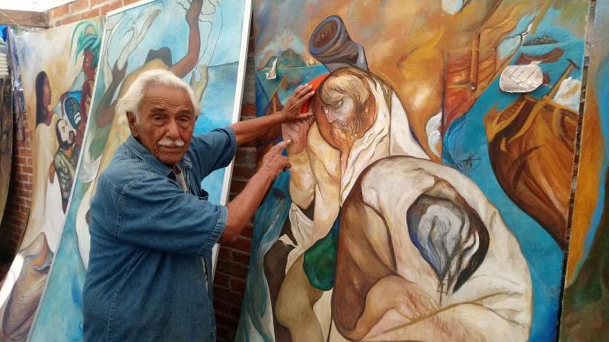 Artista Plasma En Murales Las Figuras De Cortés Moctezuma Y La Malinche
