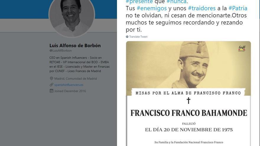 Luis Alfonso de Borbón recuerda a su bisabuelo en el aniversario de su muerte