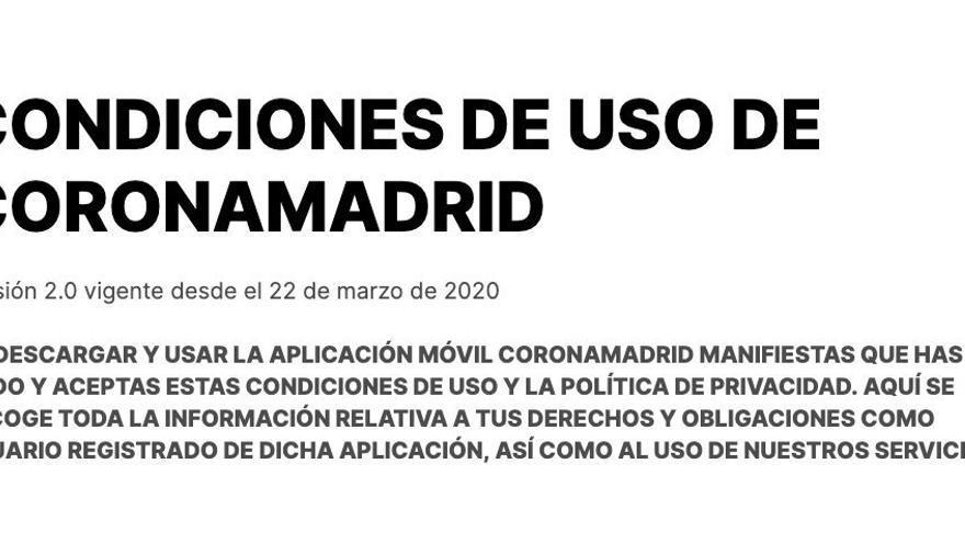 Nueva política de privacidad de la app de la Comunidad de Madrid contra el coronavirus.