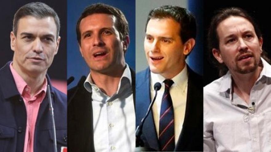 Pedro Sánchez, Pablo Casado, Albert Rivera y Pablo Iglesias
