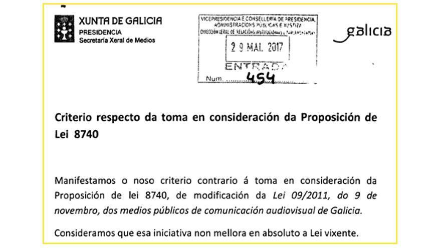 Fragmento de la respuesta remitida por la Xunta al Parlamento