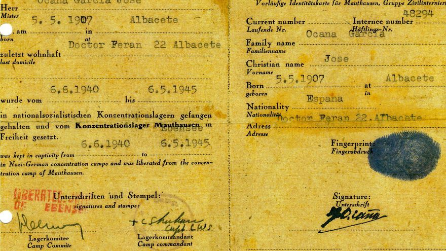 Identificación provisional que recibió José Ocaña de EEUU tras ser liberado de Mauthausen