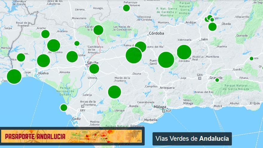 Mapa de las Vías Verdes de Andalucía.