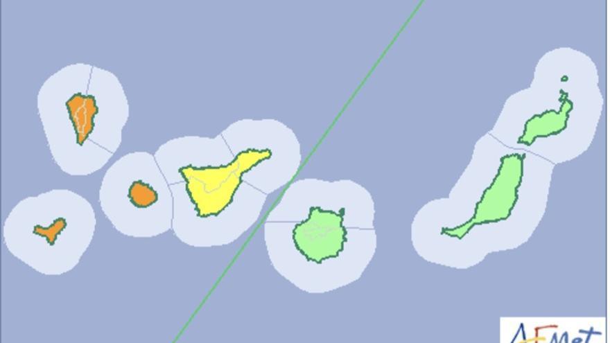 Mapa  de la Aemet del aviso de riesgo por lluvias, viento y tormentas para este fin de semana.