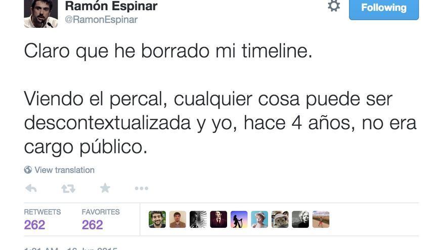 Tuit de Ramón Espinar.