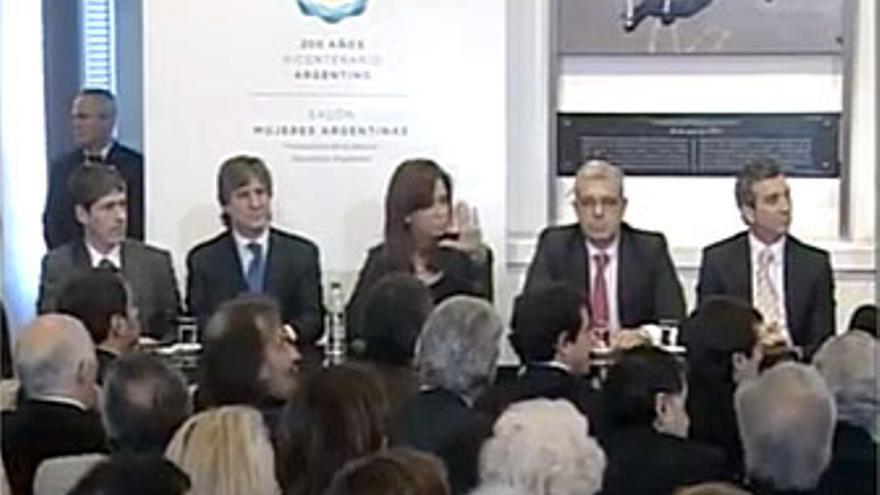 Cristina Fernández durante el anuncio en una captura de C5N Argentina.