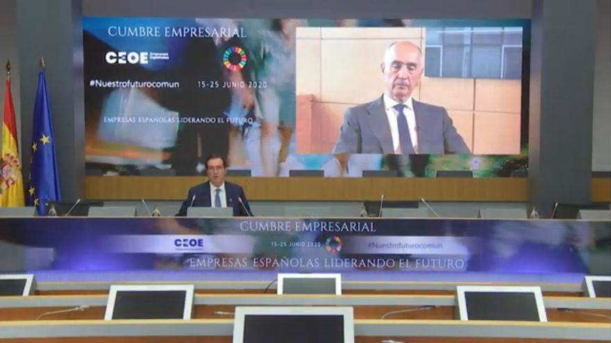 El presidente de la CEOE, Antonio Garamendi, y el de Ferrovial, Rafael del Pino.