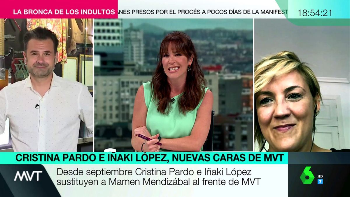 Iñaki López, Mamen Mendizabal y Cristina Pardo, en 'Más vale tarde'