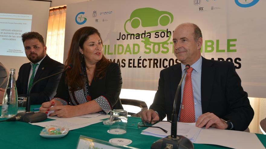 El consejero de Economía, Industria, Comercio y Conocimiento el Gobierno de Canarias, Pedro Ortega, durante la inauguración de las Jornadas sobre Movilidad Sostenible en Sistemas Eléctricos Aislados.