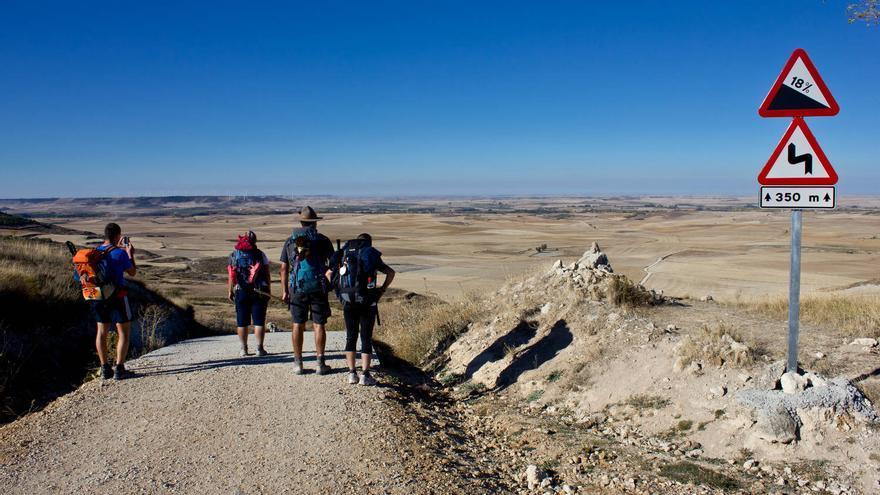 Un grupo de peregrinos mira hacia la 'Tierra de Campos' desde la cima del Teso de Mostelares. VIAJAR AHORA