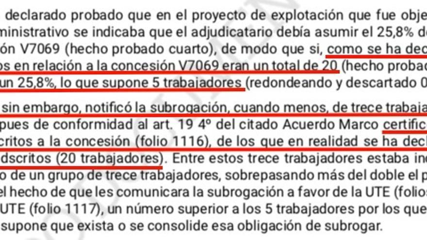 Fragmento de una sentencia del TSJG que señala que Arriba quiso subrogar en otra empresa más trabajadores de los que podía