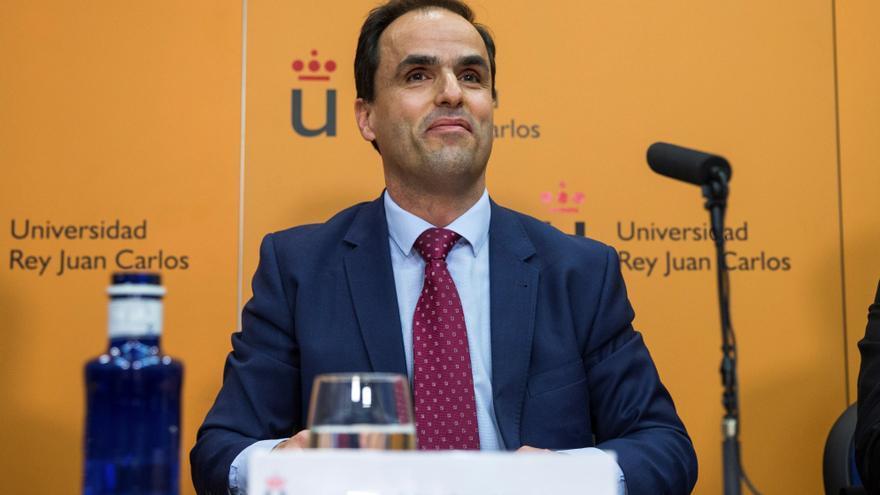 Javier Ramos, rector de la Universidad Rey Juan Carlos de Madrid, en su comparecencia para hablar del máster de Cifuentes