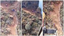Rescatado en helicóptero un senderista en el Roque de los Dos Hermanos de La Laguna con llagas y ampollas en los pies