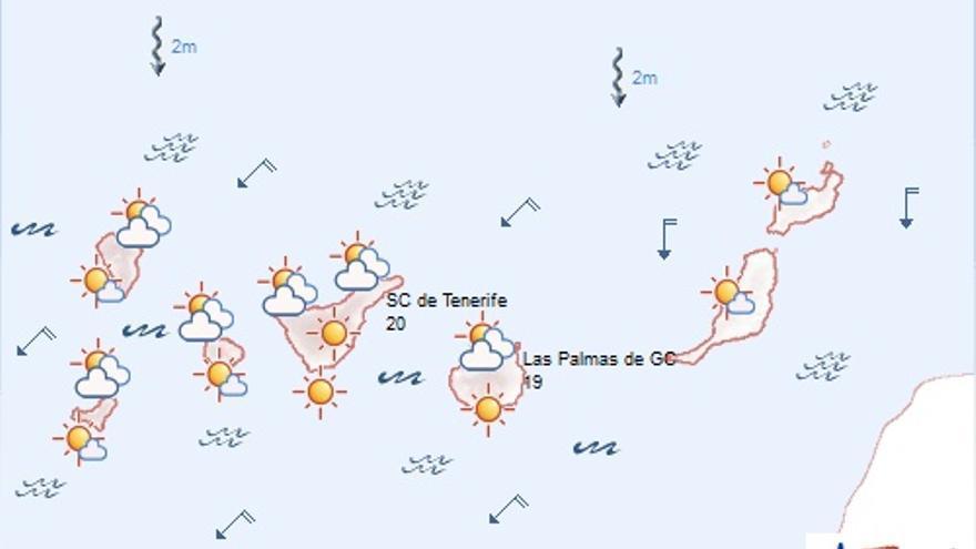 La previsión del tiempo en Canarias para este domingo, 17 de mayo (AEMET)