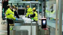 Un control en el aeropuerto de Barajas durante la crisis.