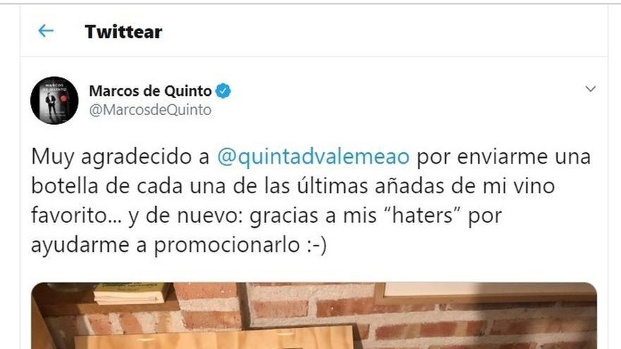"""Marcos de Quinto presume de las botellas que le regala una bodega y un diputado de Unidas Podemos habla de """"sobornos"""""""