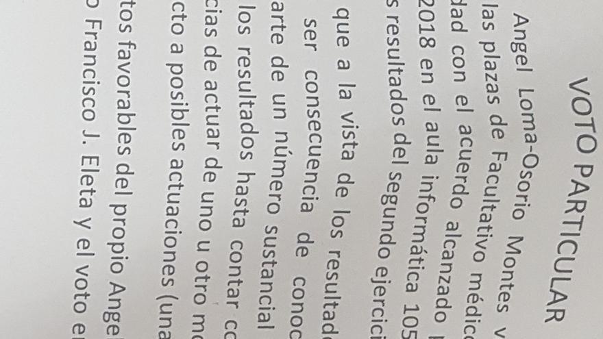 Extracto del voto particular por filtraciones en los exámenes de Cardiología