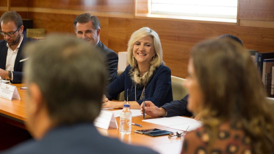 La consejera de Sanidad, Verónica Casado, en una reunión con varios grupos parlamentarios de Castilla y León.