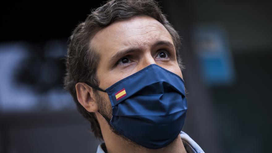 El presidente del Partido Popular, Pablo Casado, participa en la concentración contra la concesión de los indultos a los presos del 'procés', en la Plaza de Colón, a 13 de junio de 2021, en Madrid (España).