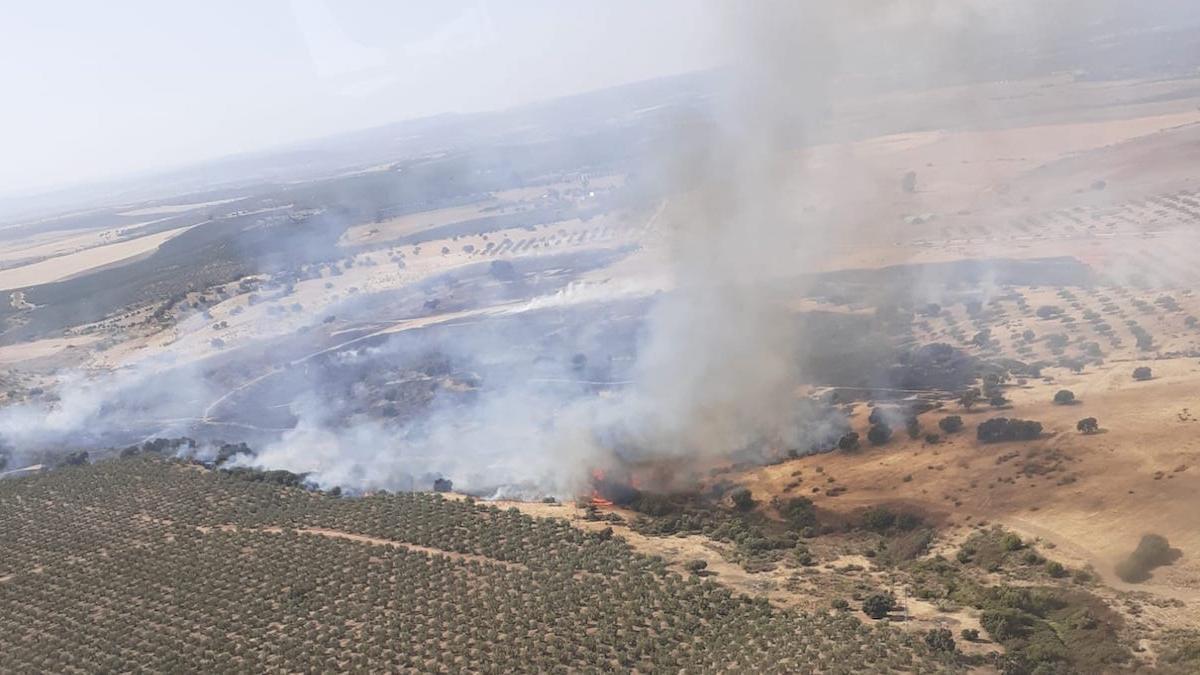 Incendio forestal en Guadalcázar.