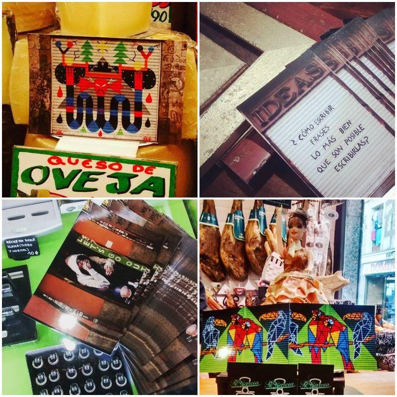 Cuatro de las postales repartidas por comercios de Malasaña | ¡PINTA MALASAÑA!