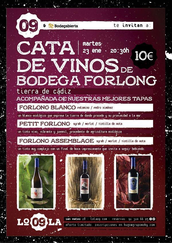 Cartel cata de vinos bodega Forlong en Lola 09
