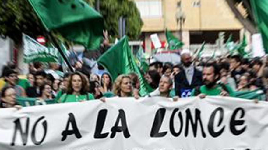 AS PALMAS DE GRAN CANARIA, 09/05/2013.- Varias personas sostienen una pancarta durante la manifestación llevada a cabo hoy en Las Palmas de Gran Canaria, con motivo de la huelga general en la educación pública. EFE/Ángel Medina G.