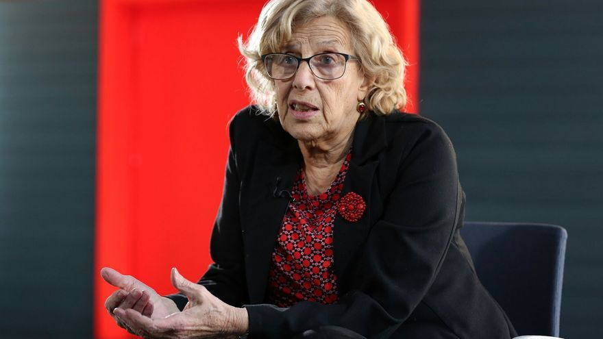 La alcaldesa de Madrid, Manuela Carmena durante la entrevista.