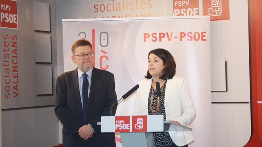 Carmelina Pla, junto al presidente de la Generalitat, Ximo Puig.
