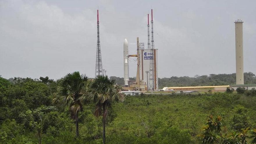 Plataforma de lanzamiento en el Centro Espacial Guayanés en Kurú, la Guayana Francesa.