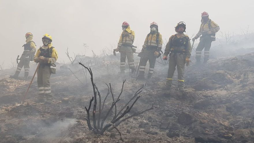 Bomberos de Murcia en la zona arrasada por el fuego en Llutxent y Gandia
