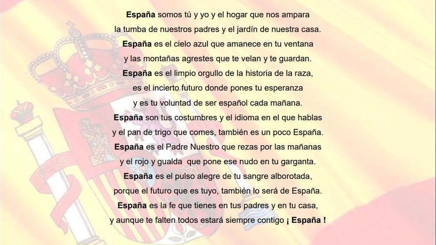 Poema 'España' de José Luis Santiago de Merás, citado por Teodoro García Egea