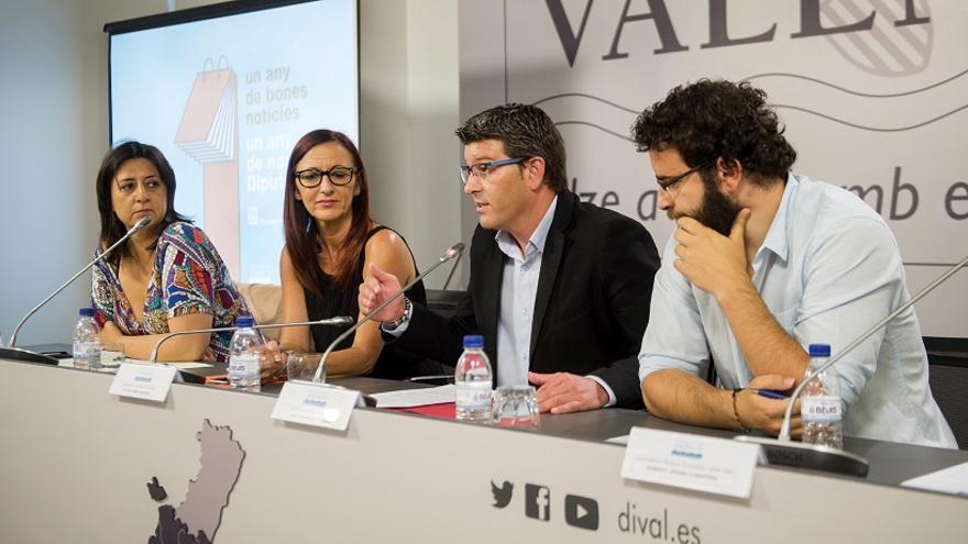 Imagen de la Rueda de prensa con Pérez Garijo, Amigó, Rodríguez i Jaramillo