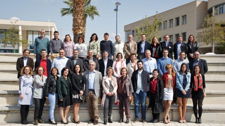 Eva Alcón junto a los miembros de su candidatura a rectora de la Universitat Jaume I