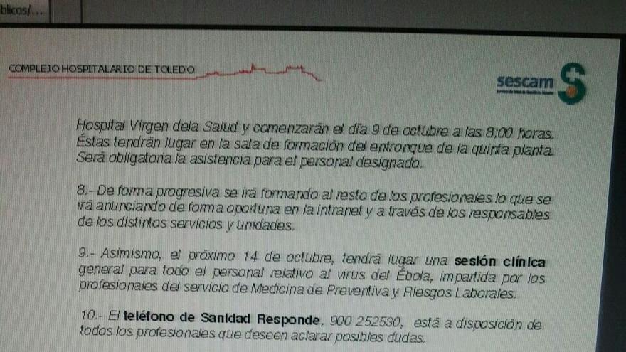 Circular sobre cursos de ébola, hospital de Toledo 2