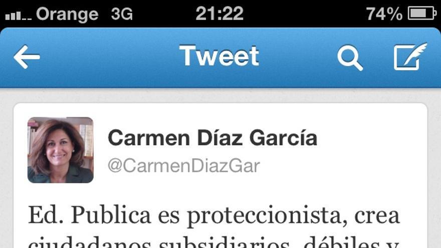 La concejal de Cultura de Marbella, Carmen Díaz, desprecia la educación pública en Twitter