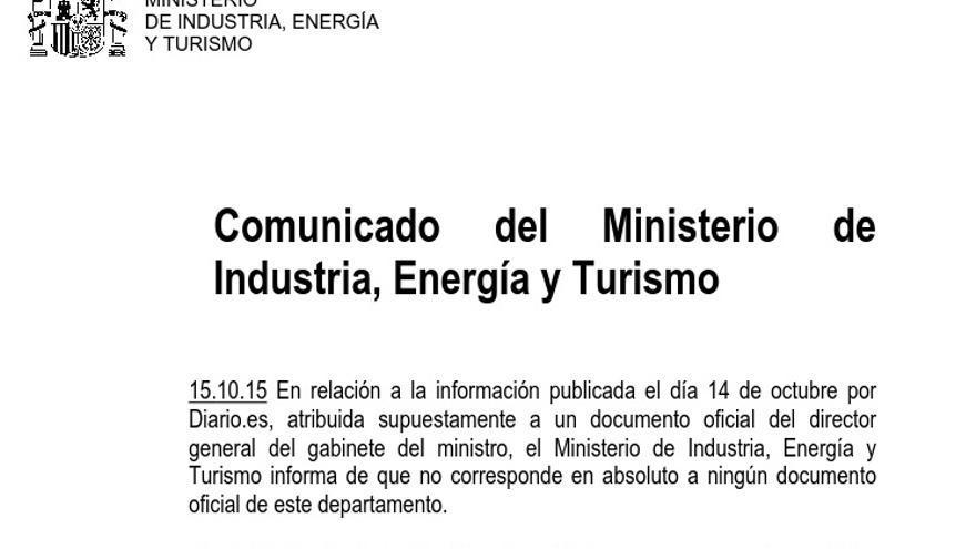 Comunicado del Ministerio de Industria, Energía y Turismo