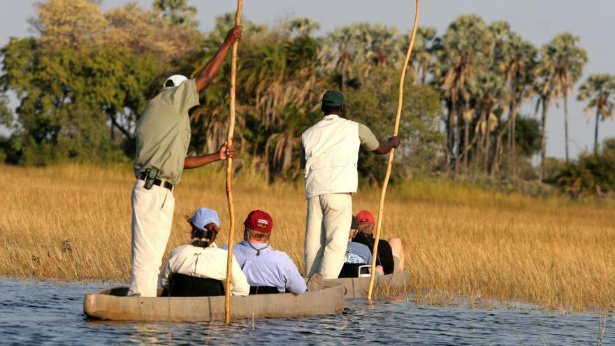 Canoa en uno de los blazos del Delta del Okavango. TURISMO DE BOTSWANA