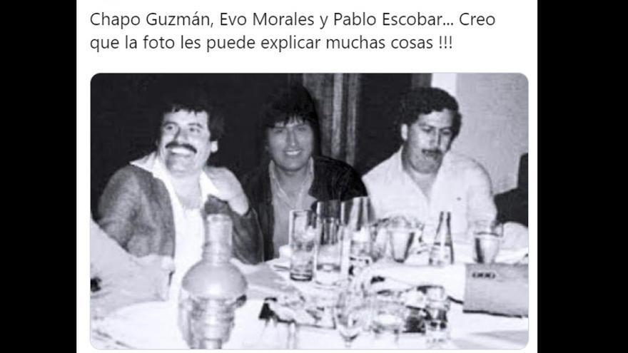Tuit del diputado opositor venezolano Henrique Salas que difunde un bulo sobre la relación de Evo Morales con el narcotráfico.