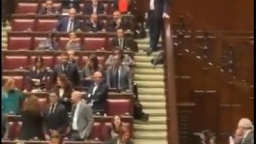 Pelea en el Parlamento italiano