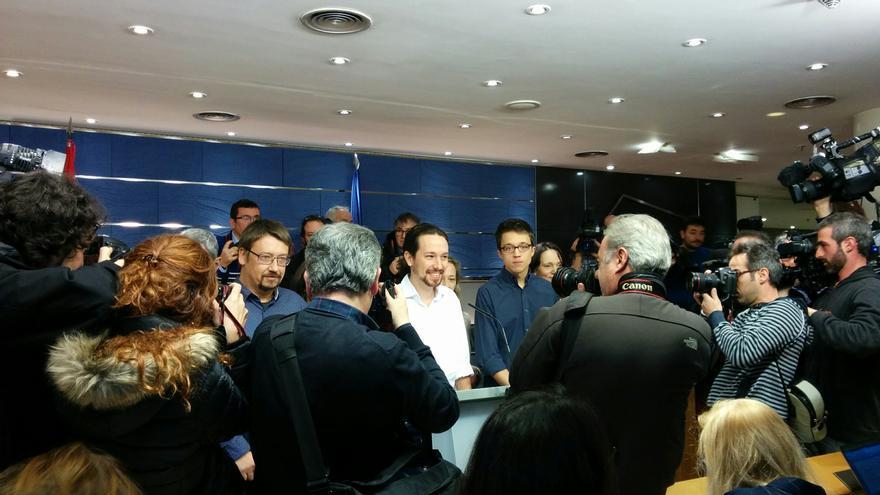 Pablo Iglesias, durante su rueda de prensa tras la reunión que ha mantenido con el rey / A.R.