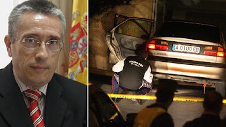 El alcalde asesinado y el coche en el que fue tiroteado.