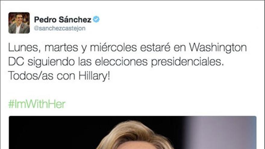 Twit de Pedro Sánchez anunciando apoyo a Hilary.