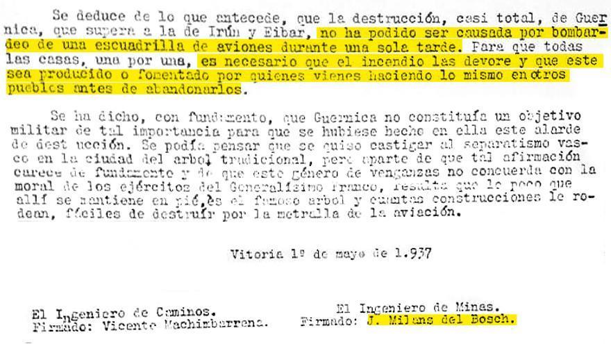 Extracto del documento de los servicios secretos de Franco sobre Gernica