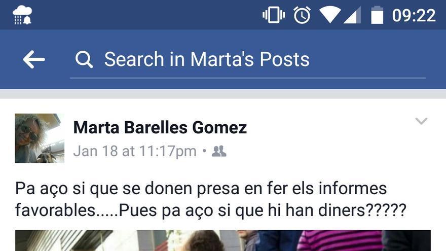 Captura de la publicación en Facebook en el perfil de Marta Barelles, concejal del PP en Almenara.